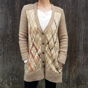 Free People   argyle pattern Grandpa cardigan